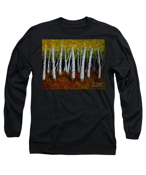 Long Sleeve T-Shirt featuring the painting Aspens In Fall 2 by Melvin Turner