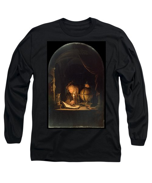 Astronomer By Candlelight Long Sleeve T-Shirt by Gerrit Dou