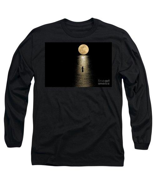 Auspicious Moon Long Sleeve T-Shirt by Bob Hislop