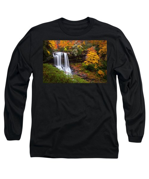 Autumn At Dry Falls - Highlands Nc Waterfalls Long Sleeve T-Shirt