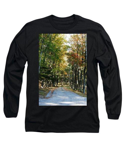 Autumn Drive Long Sleeve T-Shirt by Barbara Bardzik