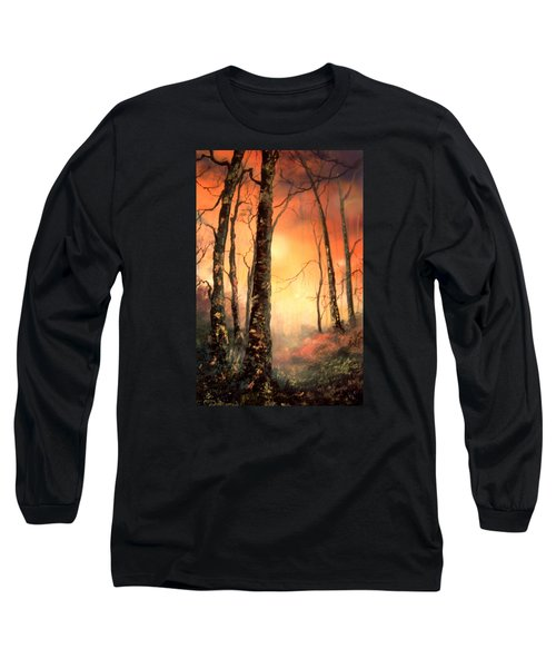 Long Sleeve T-Shirt featuring the painting Autumn Glow by Jean Walker