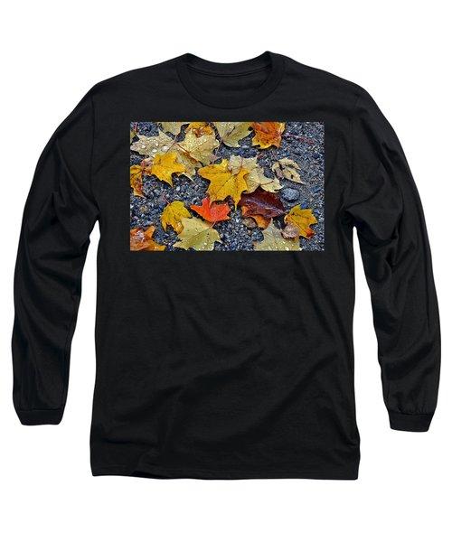 Autumn Leaves In Rain Long Sleeve T-Shirt