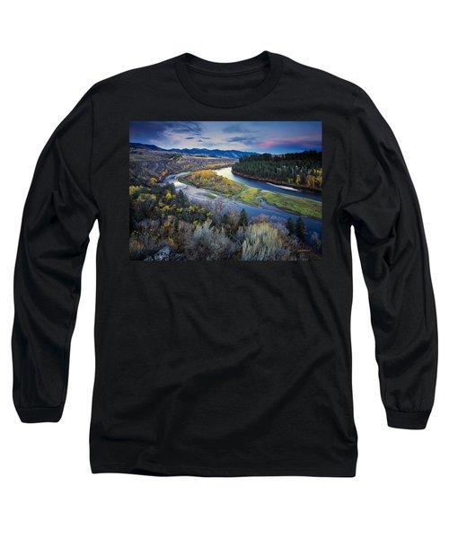 Autumn River Long Sleeve T-Shirt by Leland D Howard