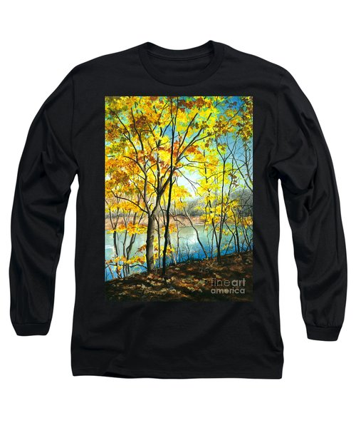 Autumn River Walk Long Sleeve T-Shirt by Barbara Jewell