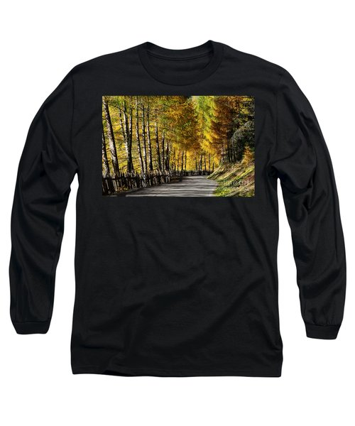 Winding Road Through The Autumn Trees Long Sleeve T-Shirt