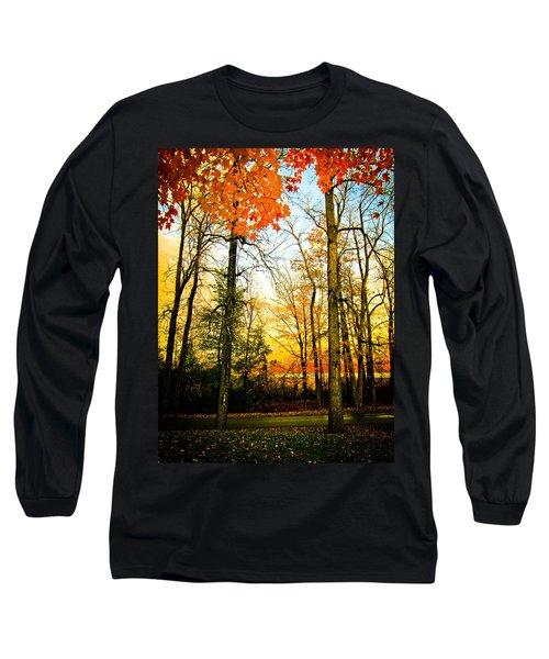 Autumn Sunset  Long Sleeve T-Shirt by Sara Frank