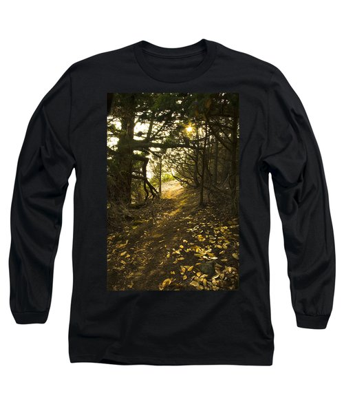 Long Sleeve T-Shirt featuring the photograph Autumn Trail In Woods by Yulia Kazansky