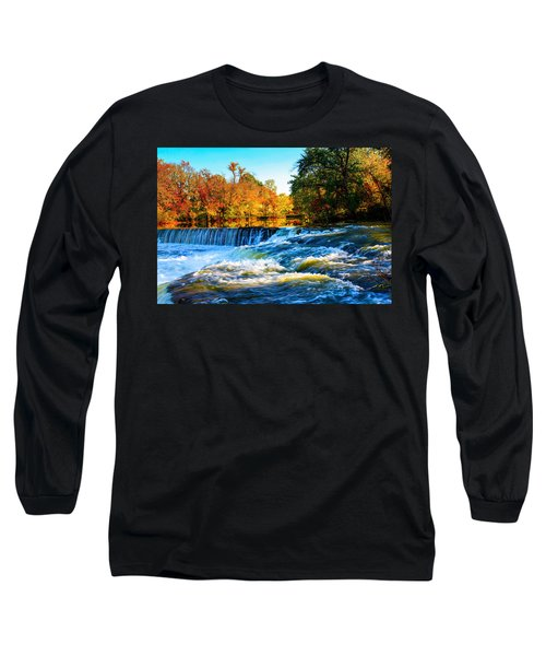 Amazing Autumn Flowing Waterfalls On The River  Long Sleeve T-Shirt by Jerry Cowart