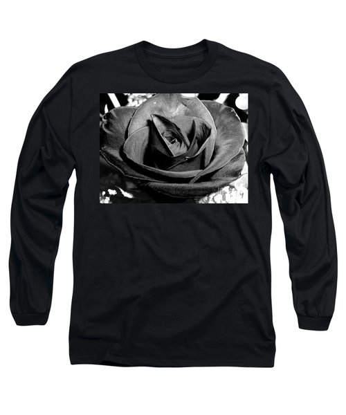 Long Sleeve T-Shirt featuring the photograph Awakened Black Rose by Nina Ficur Feenan