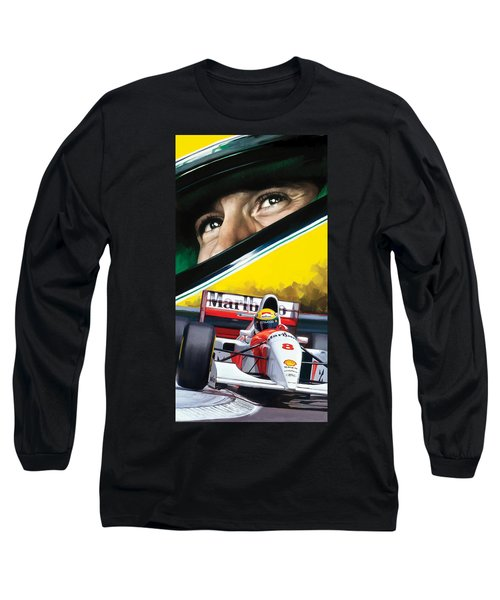 Long Sleeve T-Shirt featuring the painting Ayrton Senna Artwork by Sheraz A