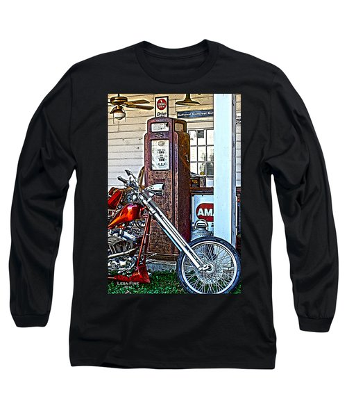 Long Sleeve T-Shirt featuring the photograph Aztec And The Gas Pump by Lesa Fine