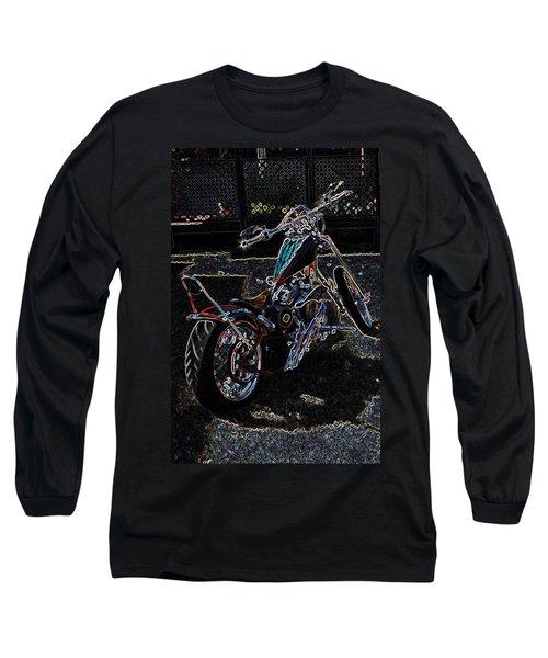 Long Sleeve T-Shirt featuring the digital art Aztec Neon Art by Lesa Fine