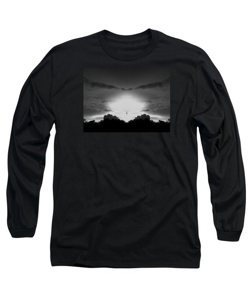 Helicopter And Stormy Sky Long Sleeve T-Shirt by Belinda Lee