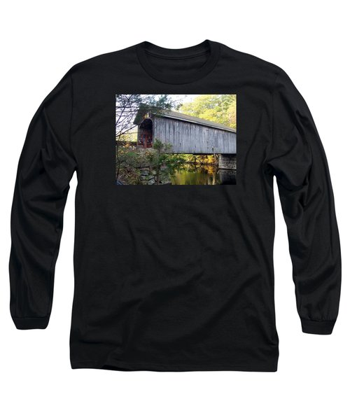Babbs Covered Bridge In Maine Long Sleeve T-Shirt by Catherine Gagne