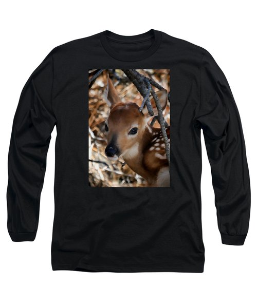 Baby Face Fawn Long Sleeve T-Shirt by Athena Mckinzie