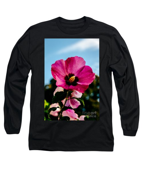 Baby Pink Hollyhock Long Sleeve T-Shirt