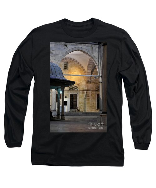Long Sleeve T-Shirt featuring the photograph Back Lit Interior Of Mosque  by Imran Ahmed