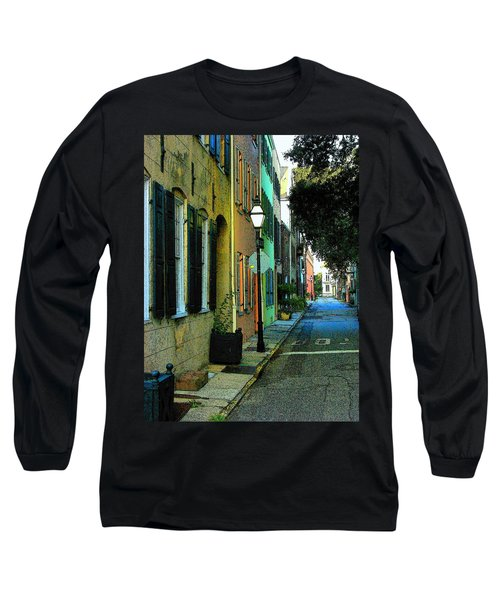 Long Sleeve T-Shirt featuring the photograph Back Street In Charleston by Rodney Lee Williams