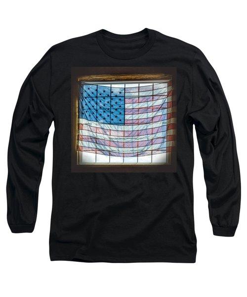 Backlit American Flag Long Sleeve T-Shirt