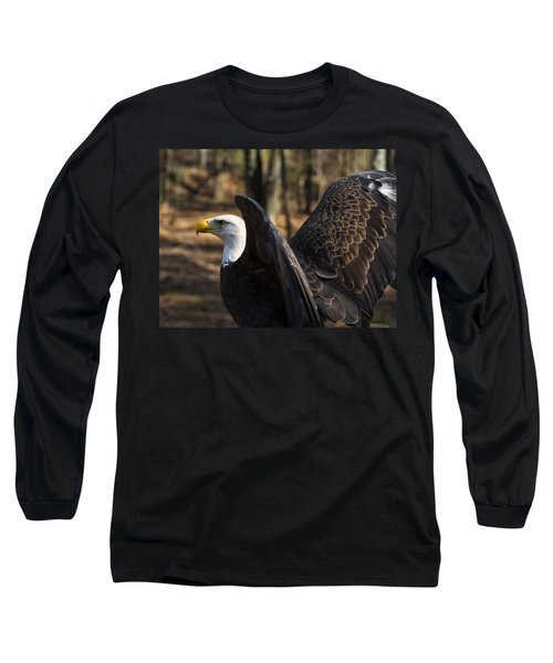 Bald Eagle Preparing For Flight Long Sleeve T-Shirt by Chris Flees