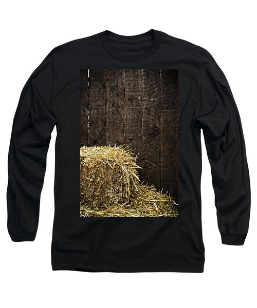 Bale Of Straw And Wooden Background Long Sleeve T-Shirt