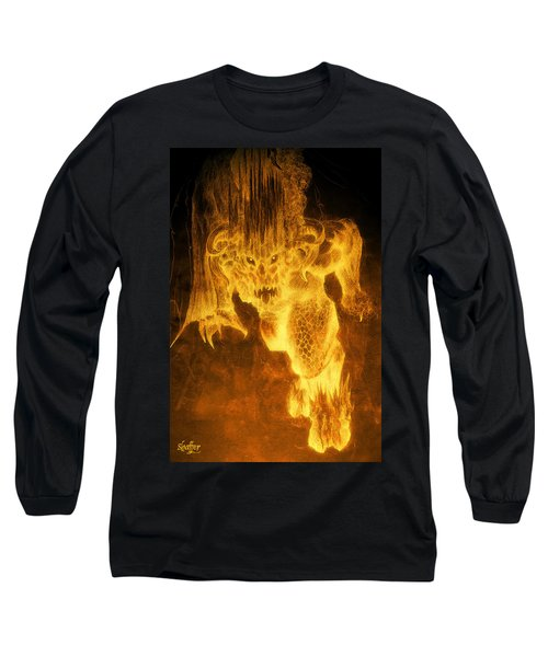 Long Sleeve T-Shirt featuring the mixed media Balrog Of Morgoth by Curtiss Shaffer