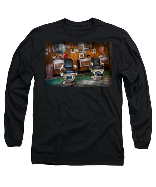 Barber - Frenchtown Nj - Two Old Barber Chairs  Long Sleeve T-Shirt