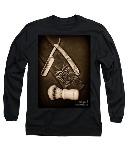 Barber - Tools For A Close Shave - Black And White Long Sleeve T-Shirt by Paul Ward