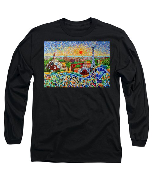Barcelona View At Sunrise - Park Guell  Of Gaudi Long Sleeve T-Shirt