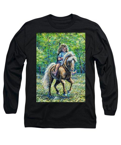 Barefoot Rider Long Sleeve T-Shirt by Gail Butler