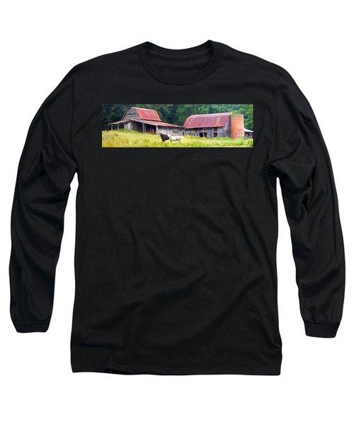 Barns And Horses Near Mills River Nc Long Sleeve T-Shirt