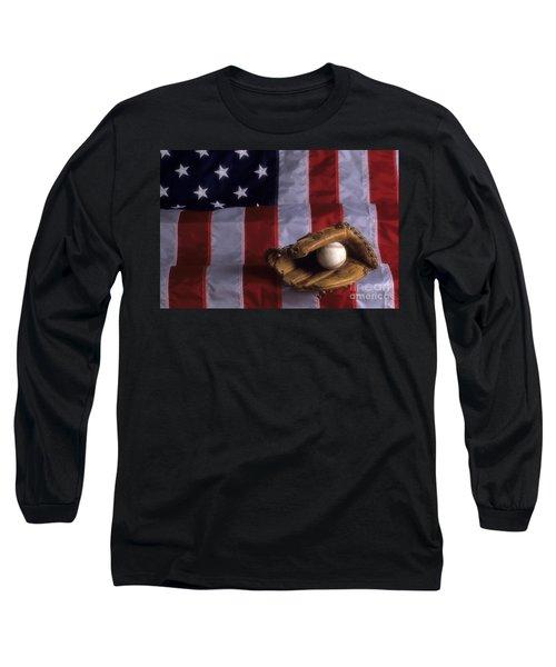 Baseball And American Flag Long Sleeve T-Shirt