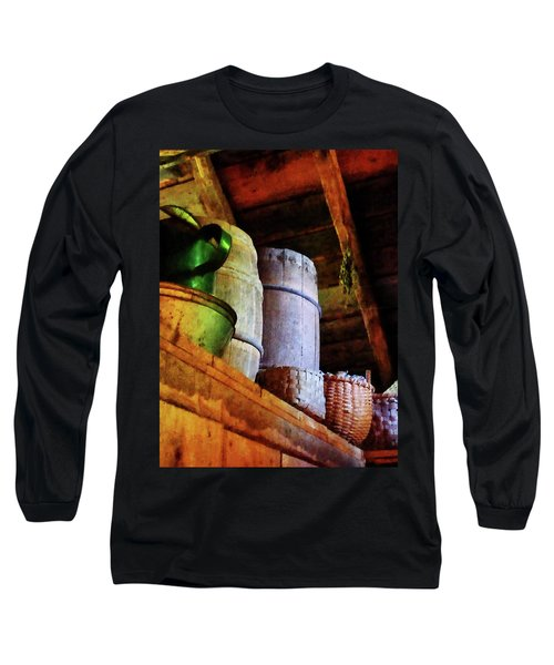 Long Sleeve T-Shirt featuring the photograph Baskets And Barrels In Attic by Susan Savad