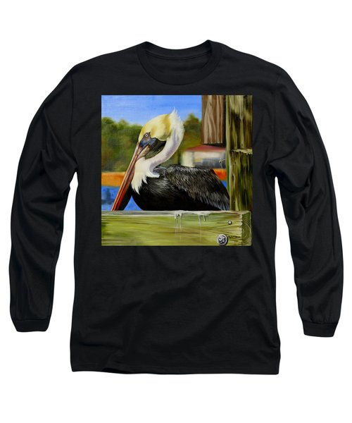 Long Sleeve T-Shirt featuring the painting Bay St. Louis Pelican by Phyllis Beiser