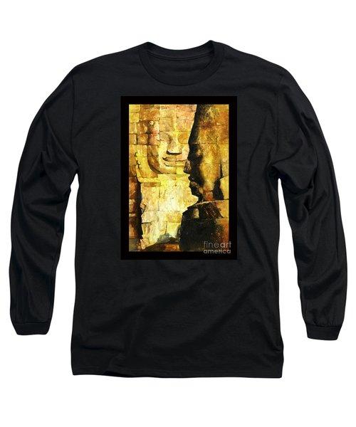 Bayon Khmer Temple At Angkor Wat Cambodia Long Sleeve T-Shirt