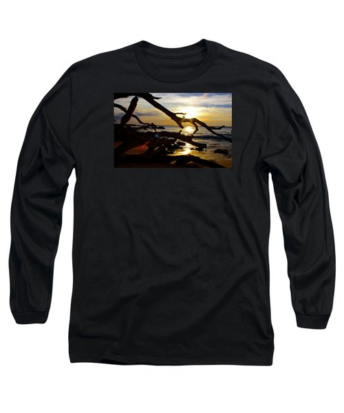 Beach 69 Hawaii At Sunset Long Sleeve T-Shirt by Venetia Featherstone-Witty