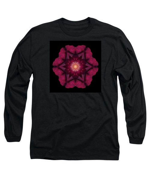 Long Sleeve T-Shirt featuring the photograph Beach Rose I Flower Mandala by David J Bookbinder