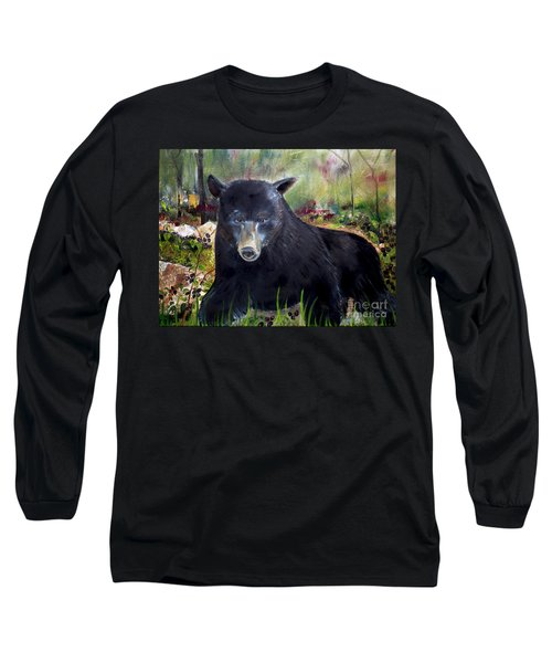 Long Sleeve T-Shirt featuring the painting Bear Painting - Blackberry Patch - Wildlife by Jan Dappen
