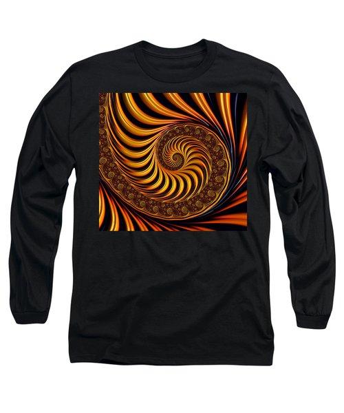 Beautiful Golden Fractal Spiral Artwork  Long Sleeve T-Shirt by Matthias Hauser