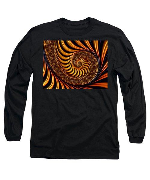 Beautiful Golden Fractal Spiral Artwork  Long Sleeve T-Shirt