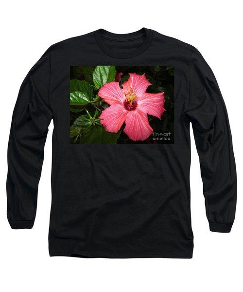 Long Sleeve T-Shirt featuring the digital art Beautiful Hibiscus by Oksana Semenchenko