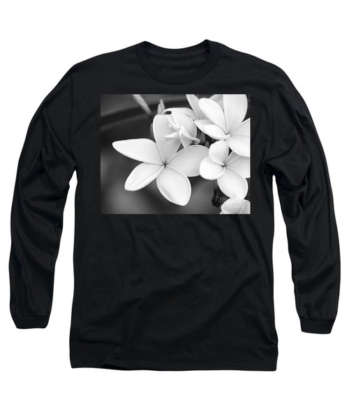 Beautiful Plumeria In Black And White Long Sleeve T-Shirt
