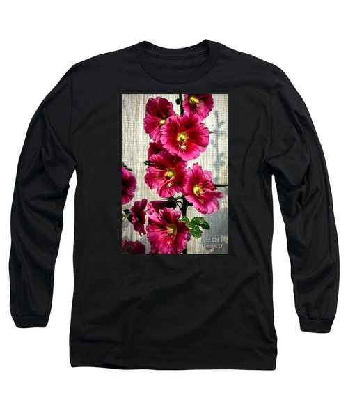 Beautiful Red Hollyhock Long Sleeve T-Shirt