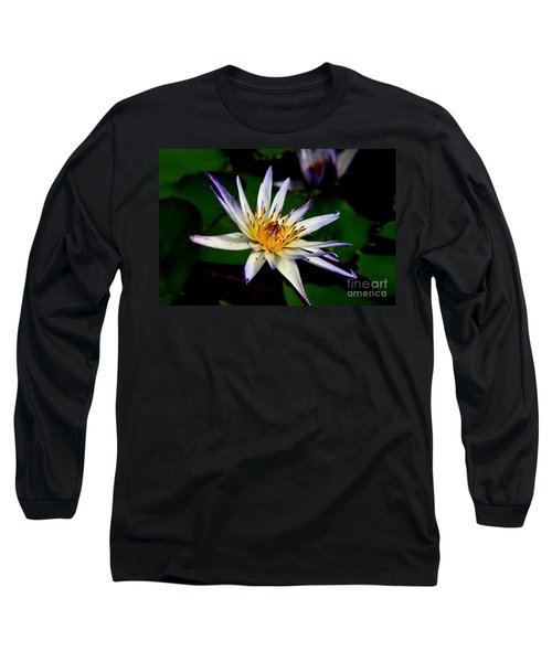 Beautiful Violet White And Yellow Water Lily Flower Long Sleeve T-Shirt