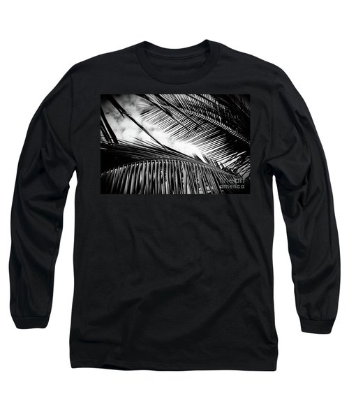 Long Sleeve T-Shirt featuring the photograph Maui Paradise Palms Hawaii Monochrome by Sharon Mau