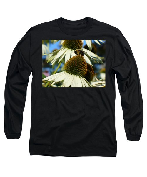 Long Sleeve T-Shirt featuring the photograph Bee On A Cone Flower by Lingfai Leung