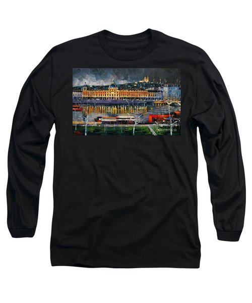 Before The Storm - View On Hotel Dieu Lyon And The Rhone France Long Sleeve T-Shirt