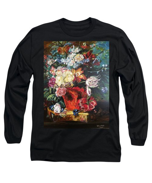 Long Sleeve T-Shirt featuring the painting Life Is A Bouquet Of Flowers  by Belinda Low