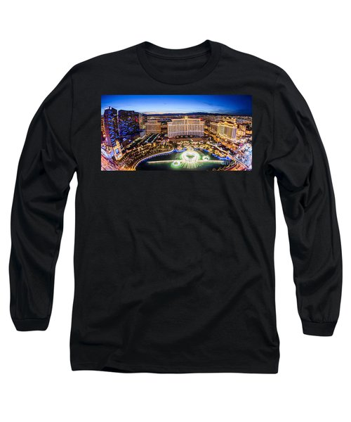 Long Sleeve T-Shirt featuring the photograph Bellagio Rountains From Eiffel Tower At Dusk by Aloha Art